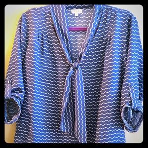 Chevron Patterned Blue Top